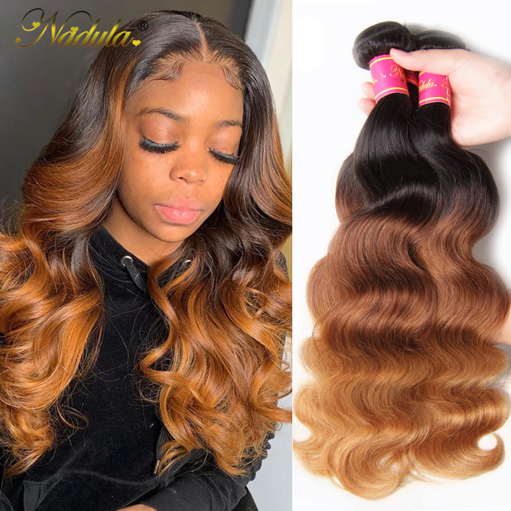 Nadula Haar 3 Bundles/Lot Peruanische Haar Körper Welle 3 Bundles Menschliches Haar Ombre Spinnt T1b/4/27 Farbe remy Haar Extensions