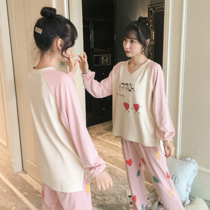 Pajamas Women's Spring And Autumn Long Sleeve Students Korean-style Fresh Cute Plaid Casual Tracksuit 9819 # M -Xxl
