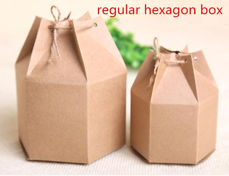 20pcs/lot-6cm/4.5cm <font><b>big</b></font> small size Fashion regular hexagon kraft paper <font><b>Gift</b></font> <font><b>box</b></font> food candy Tea Storage <font><b>Box</b></font> DIY Craft <font><b>Packaging</b></font> image