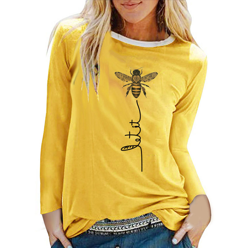 Bee Printing T-shirts Women Long Sleeve Graphic Tees Streetwear White Round Neck Aesthetic Clothes Fashion Tops for Women Ladies 1