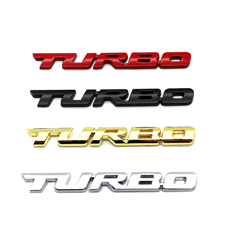 Universal Cool 3D Alloy Metal Letter Turbo Car Motorcycle Emblem Badge Sticker Decal Decor Car Body Rear Tailgate 3D Car Sticker