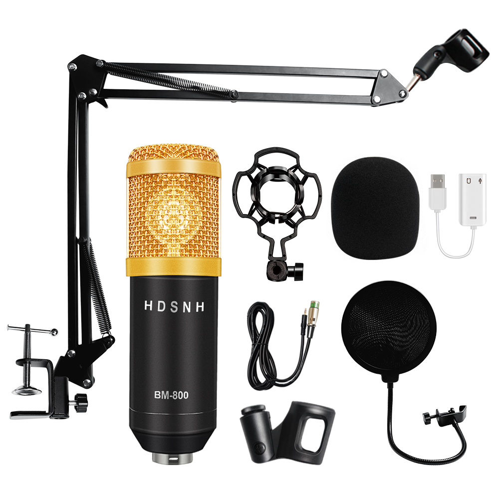 Professional Microfone Bm 800 With Pop Filter Bm 800 Studio Microphone Bm800 Condenser Microphone Kit Audio For Computer ASMR
