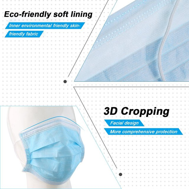 200PCS 3 layers mouth mask Anti Dust Mouth Mask Carbon Filter Windproof Mouth-muffle Bacteria Proof Flu kind Face Masks 3