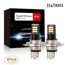 Novo 2 pçs h4 9003 3030 24 smd led rgb farol do carro lâmpada de nevoeiro luz 24w 6000k condução carro correndo lâmpada auto leds luz 12v