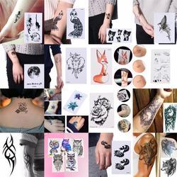 Women Ear Tatoos Geometric Planet Temporary Tattoo For Children Girl Moon Forest Waterproof Fake Black Tattoo Stickers Kids