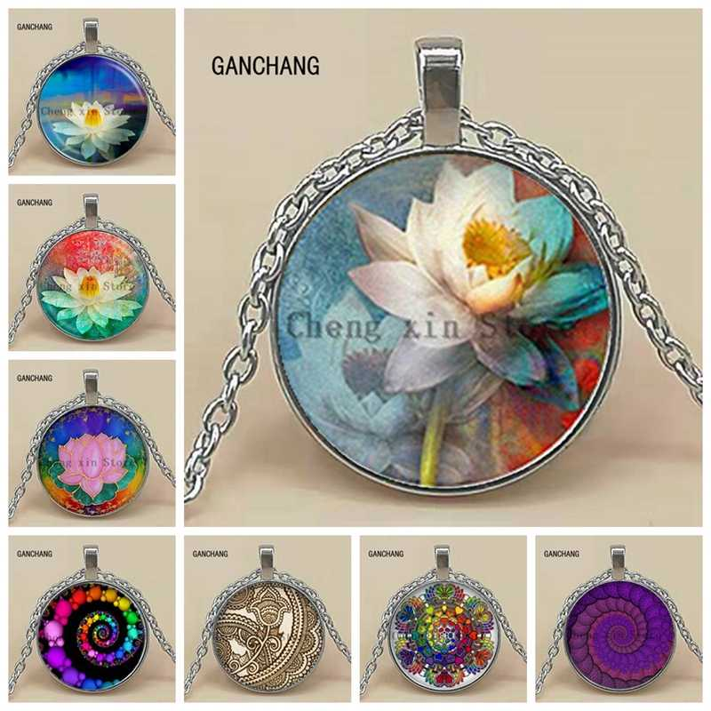 Nuevo collar de moda de Mandala de loto joyería Retro de cristal convexo de Yoga que simboliza a las mujeres budista