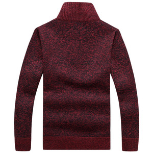 Autumn Men's Thick Warm Knitted Pullover Solid Long Sleeve Turtleneck Sweaters Half Zip Wool Fleece Winter Coat Comfy Clothing