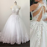 Unique Back Sparkle Wedding Dress High Quality Lace Ball Gown Bridal Dresses Custom Made Shinny Skirt Bridal Gown