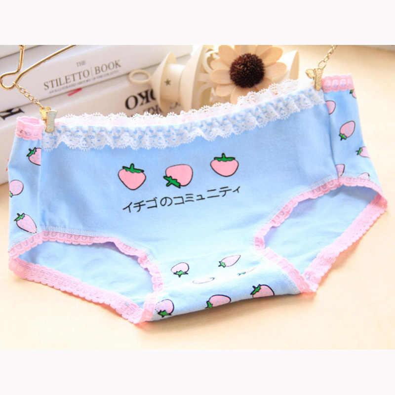 Vrouwen Aardbei Slipje Dame Katoenen Ondergoed Japanse Kawaii Meisjes Ademende Naadloze Lage Taille Slips Ondergoed PD0105