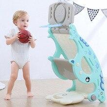 4 in 1 Kids Children Rocking Horse Slide Ride Toy Infant Indoor Basketball Gate Rocking Chair Multi-functional Kids Sport Game