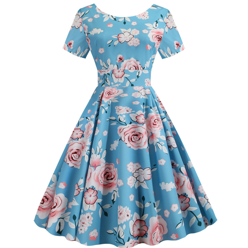 Summer Floral Print Elegant A-line Party Dress Women Slim White Short Sleeve Swing Pin up Vintage Dresses Plus Size Robe Femme 247