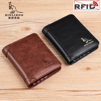 Men's Wallets Short Zipper Genuine Leather Wallet RFID Anti Theft Man Pocket Coin Purse Wallet Male Card Holder High Quality vintage rfid wallets 100% genuine leather men short wallet for cards male coin purse card holder pocket double zipper design