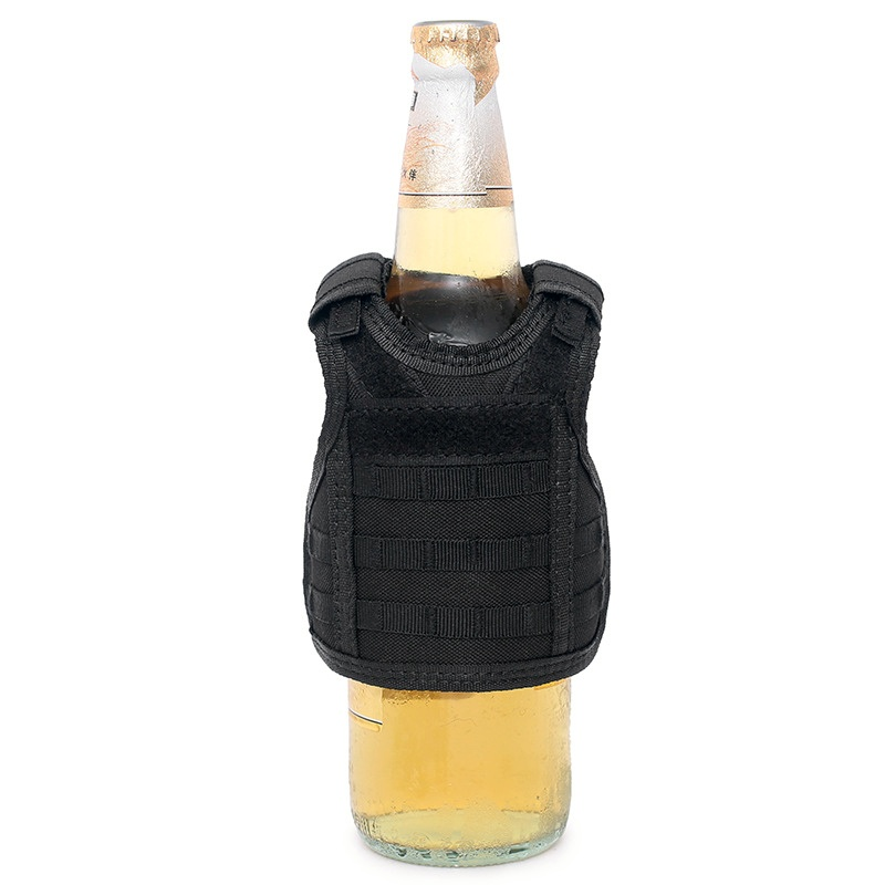 Military Premium Miniature Vest Tactical Beer Bottle Koozie Mini Wine Water Bottle Pouch Holder Cooler Hunting Beer Molle Vests
