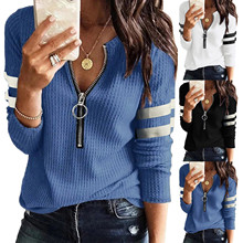 2021 Women's V Neck Blouses Shirts Long Sleeve Zipper Knit Loose Fitting Thermal Tunic Tops Blusas