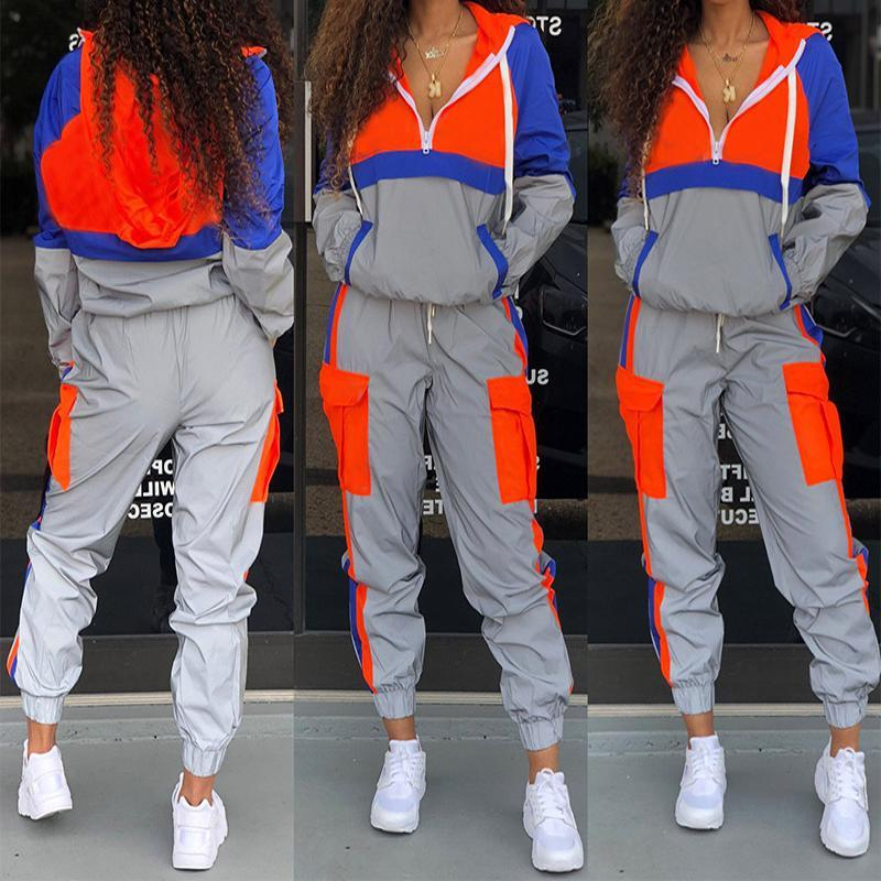 2020 Spring Reflective Tracksuit For Womens Outfits Streetwear Two Piece Set Zipped Hooded Top And Pants Sweat Suits Matching