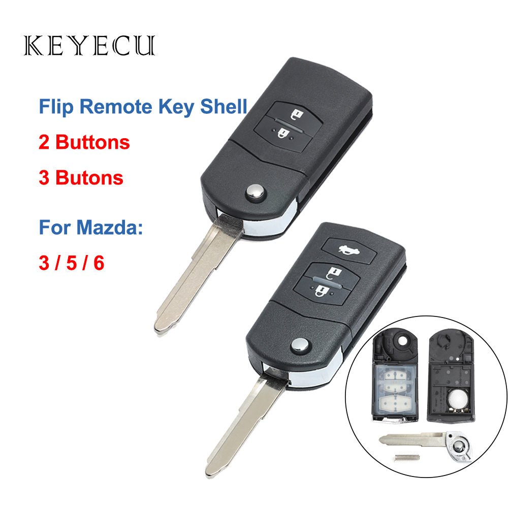 Keyecu 2 3 Buttons Flip Remote Car Key Shell Case for Mazda 3 5 6 2003 2004 2005 2006 2007 2008 2009 2010 2011 2012 2013 image