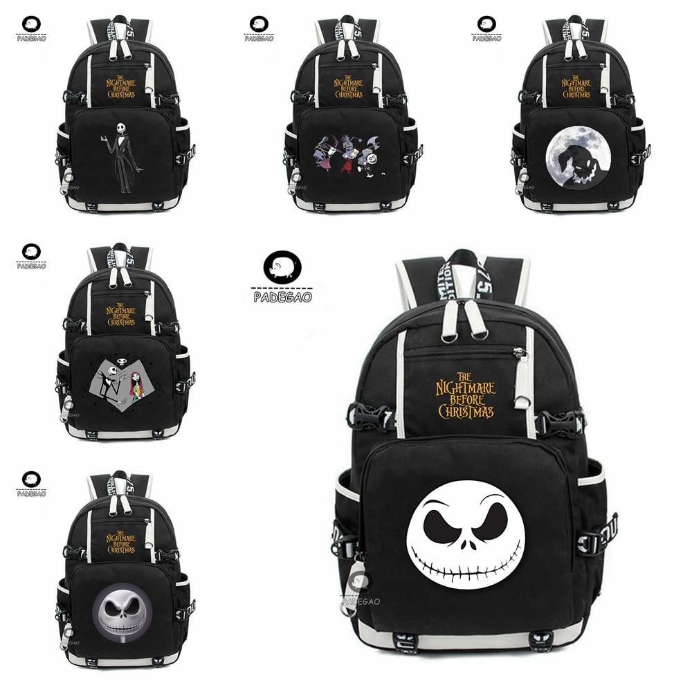 Anime The Nightmare Before Christmas Jack Backpack Teenagers Bookbags Laptop Shoulder Bag Tranel Rucksack Girls Boys School Bags