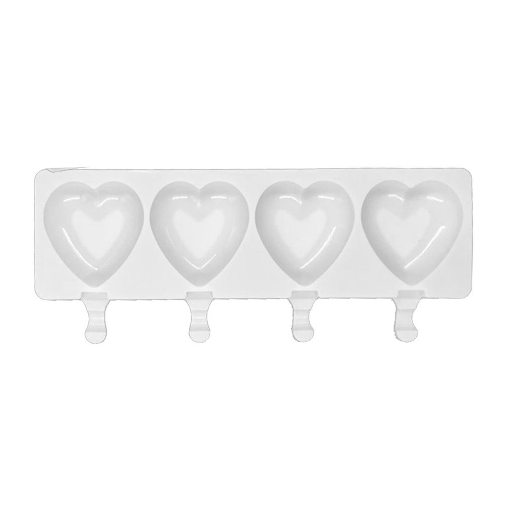 4 Cavity Ice Cream Mold Popsicle Silicone Molds DIY Homemade Fruit Juice Dessert Ice Pop Lolly Tray Mould Heart Shape