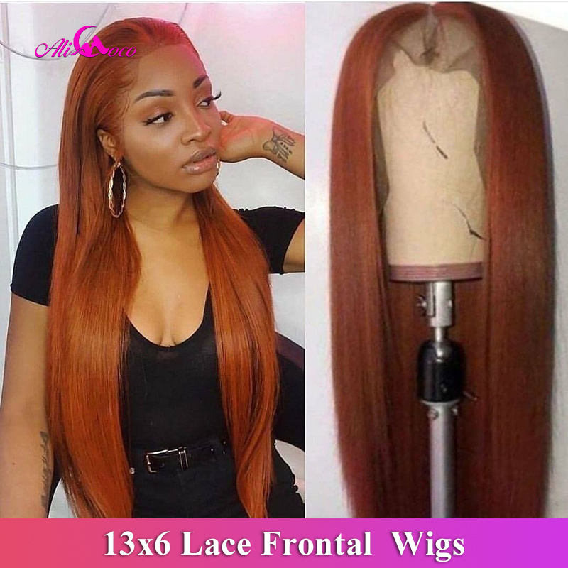 Ali Coco 13x6 Brazilian Straight Human Hair Wigs 28 30 Inch 150% Orange Ginger Color Brazilian Remy Long Wigs Pre Plucked