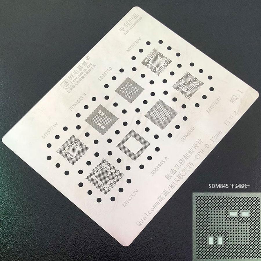 Amaoe BGA Reballing Stencil FOR Qualcomm SDM710 SDM845 SDM660 SDM636 MTK MT6771V MT6739V MT6763V MT6757V CPU Reballing Tin 1