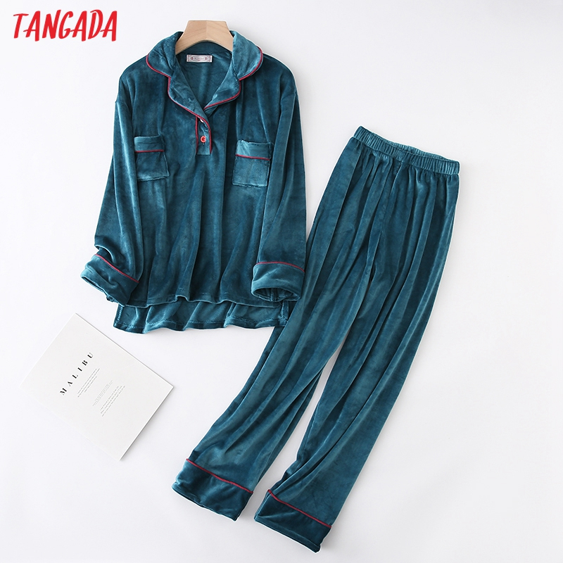 Tangada Women Set Solid Velvet 2019 Winter Thick Warm Fleece Tops Pants Two Piece Sets Ladies Female Twins Sets Female Set YU31