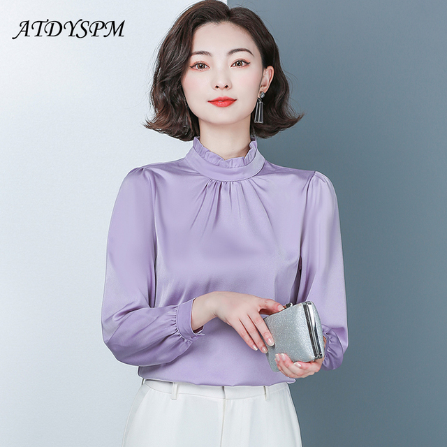 New Spring Long Sleeved Women's Shirts Satin Blouses Loose Office Work Wear Tops Ruffles Stand Collar Plus Size 4XL Green Shirts 2