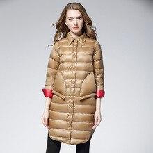 Puffer Jacket Parkas Plus-Size Winter Women Coat Duck-Down Ultra-Light Black Long Warm