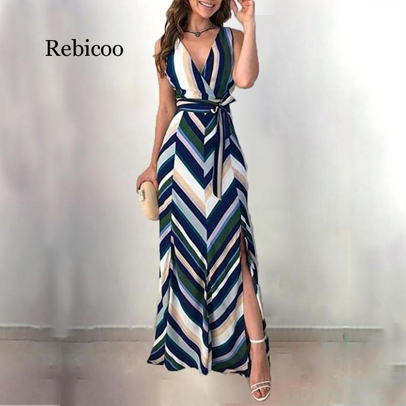 Women Fashion Elegant Wrapped Side Slit Long Party Dress Chevron Stripes Backless Belted Slit Casual Maxi Dress Ropa