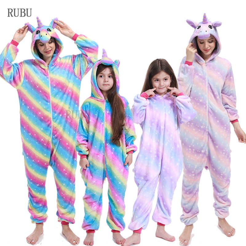 Зимний комбинезон с изображением животных; Детские пижамы кигуруми с единорогом; одежда для сна для женщин; Пижама для взрослых; одежда для маленьких девочек; одежда для сна для мальчиков; комбинезоны
