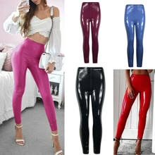 Women Sexy PU Leather Pants Fashion High Waist Stretch Leggings Slim Wet Look Stretchy Pants Hip Push Up Pencil Trousers S-XL(China)