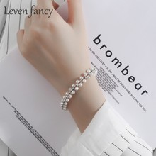 Multi Layer Handmade Woven 925 Sterling Silver Beaded White Pearl Bracelet Women Wedding Jewelry Gift Bridal Elastic Bracelets(China)