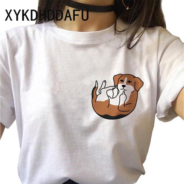 Beagle T Shirt Dog Women Kawaii Harajuku Top Tee Aesthetic Ulzzang Tshirt Femme Funny Vintage Casual O-Neck T-shirt Female 2020 1