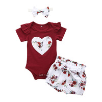 Newborn Baby Girls 2020 Clothes Set Summer Solid Color Short Sleeved Romper Shorts Headband 3Pcs Outfit New Born Infant Clothing