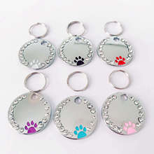 Tag-Pendant-Collar Custom Name-Plate-Accessories Engraved Cat-Id-Tag Paw Round Kitten