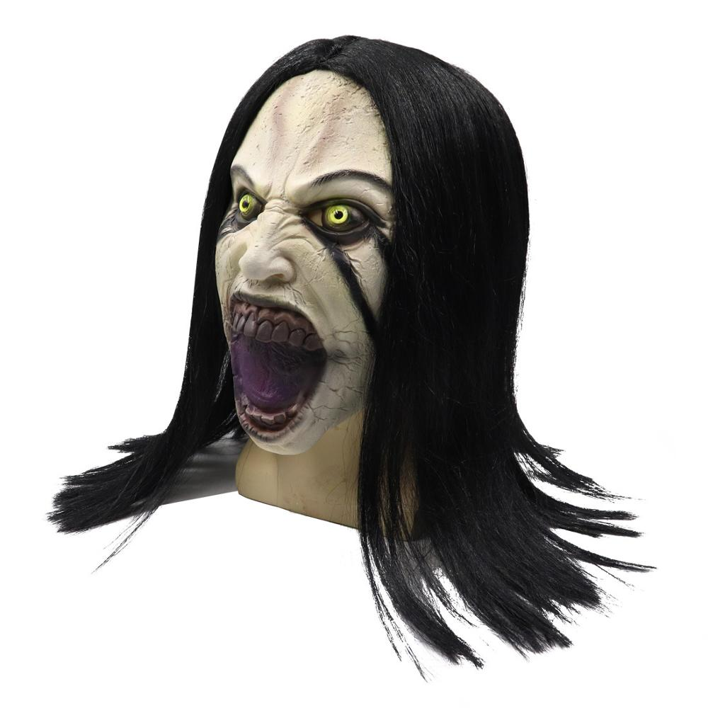 The Curse of La Llorona Mask Black hair Female ghost Masque Movie Cosplay Scary horror Prop masks in Boys Costume Accessories from Novelty Special Use