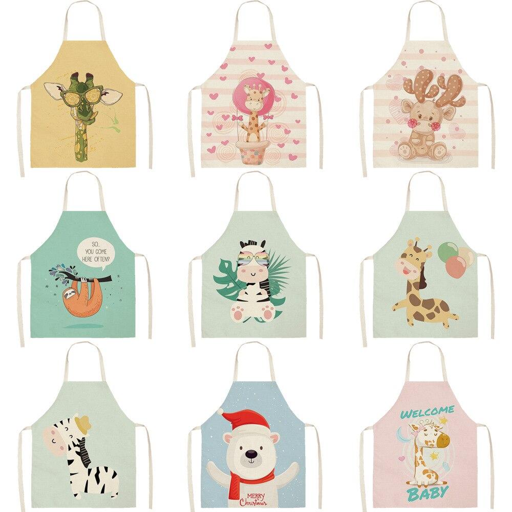 Parent-child Kitchen Apron Cartoon Deer/Bear/Giraffe/Rabbit Printed Sleeveless Cotton Linen Aprons For Women Home Cleaning Tools