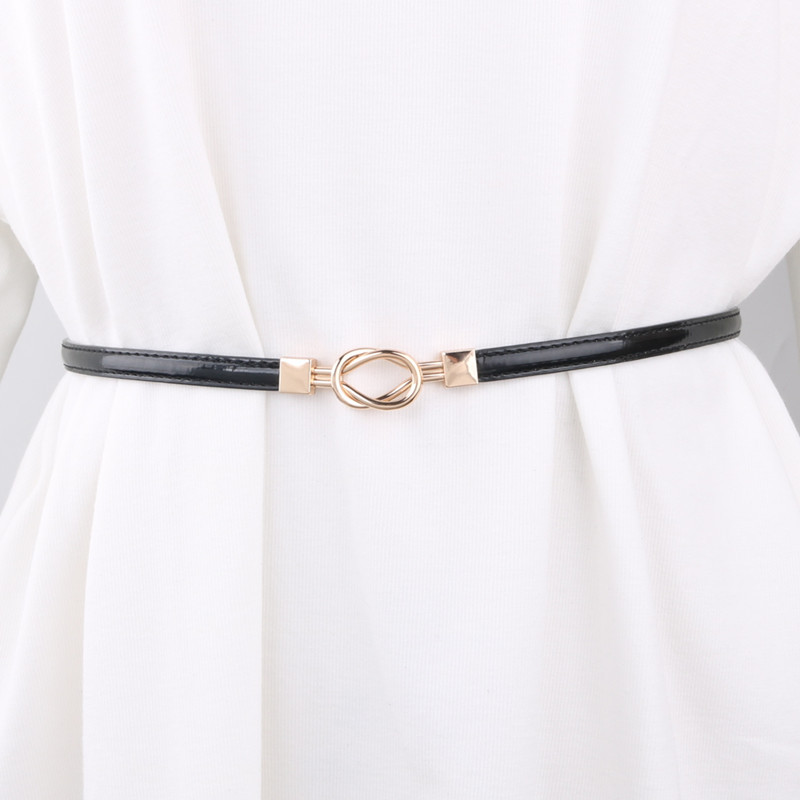 Patent Leather Buckle Decoration Accessories Waistband Female Fine Dress Fashion Korean-style Simple Small Belt with Skirt Chain
