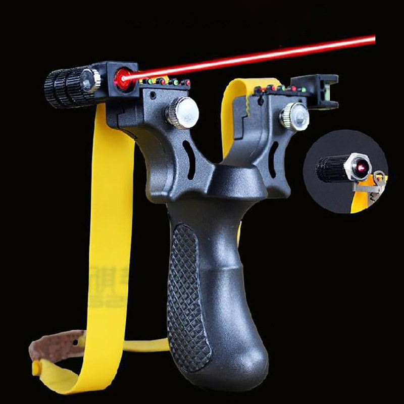 Laser Aiming Slingshot Resin Catapult With Flat Rubber Band Outdoor High Precision Hunting Shooting Slingshot