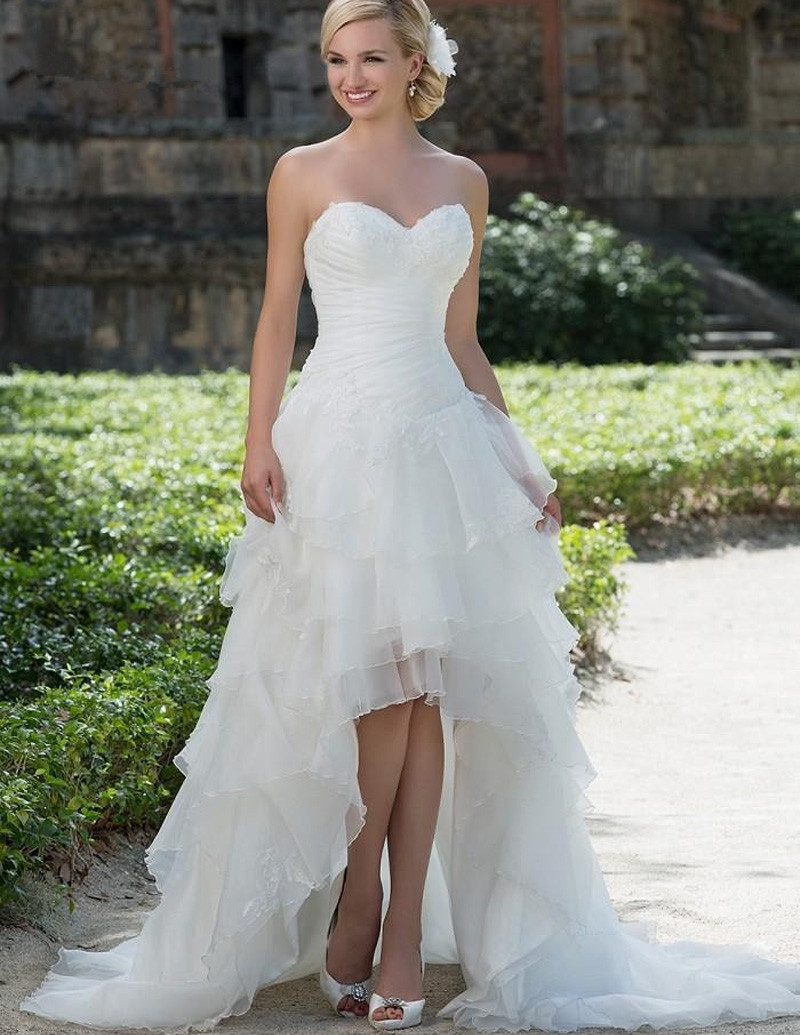 Exquisite Sweetheart Corset High Low Wedding Dresses 2019 Organza Appliques Short Front Long Back Bridal Gowns Vestido De Noiva