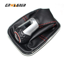 For VW Bora MK4 Golf 4 Jetta 4 98 04 Car Gear Knob with Chrome Frame Genuine Leather Red Thread Red Ring Cap 5 speed 12mm