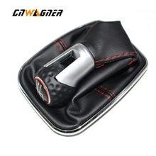 Para vw bora mk4 golf 4 jetta 4 98-04 botão de engrenagem do carro com quadro cromado couro genuíno rosca vermelha tampa anel 5 velocidade 12mm