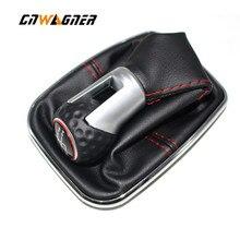 Per VW Bora MK4 Golf 4 Jetta 4 98 04 Auto Pomello Del Cambio con Chrome Frame In Vera Pelle Rossa filo Rosso Cappuccio Ad Anello 5 velocità di 12 millimetri