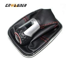 Perilla de engranaje para coche VW Bora MK4 Golf 4 Jetta 4 98 04, con marco cromado, cuero genuino, rosca roja, tapa de anillo rojo, 5 velocidades, 12mm