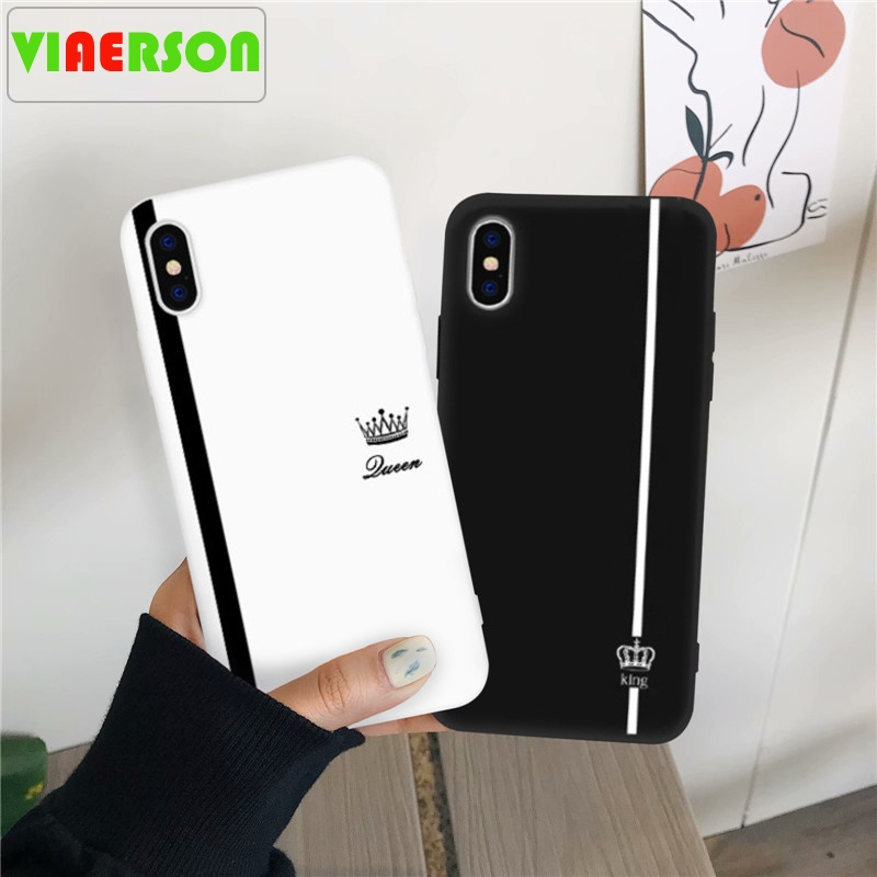 VIAERSON King Queen Lovers Couple Case For <font><b>Samsung</b></font> <font><b>Galaxy</b></font> S10 S9 S8 Plus <font><b>Samsung</b></font> Note10 Pro Black White Silicone Soft Phone Capa image
