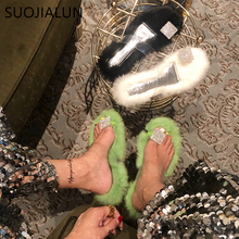 SUOJIALUN 2019 New Brand Women Fur Slippers Bling Rhinestone Fluffy Plush Warm Shoes Casual Floor Flip Flops Sandals