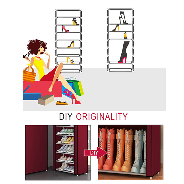 Multi Layers Shoe Rack Nonwoven Fabric Home Shoes Storage Organizer Easy to Install Shoe Cabinet Stand Holders Space Saver 3