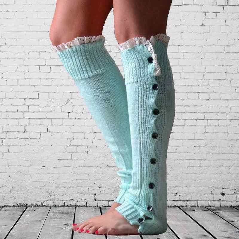 Encaje botón abajo pierna más caliente Ballet baile caliente hasta las polainas de punto Boot Cuffs Stockin calcetines botas cubre pierna abrazadera de protección