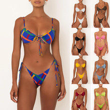 Women bikini triangulo bathing suits Print Split Swimsuit Swimwear Beachwear Bikini sweamsuits badpak meisje купальник #B40