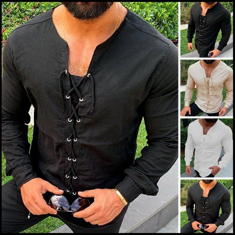 Medieval Shirt Lace-up Men Cotton Shirts Pirate Landlord Knight Tunic Casual Shirt