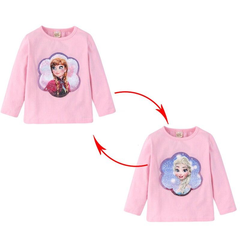 Girls Long sleeve T-shirt Cotton Clothing Magic Sequin T Shirt Change Graph Elsa And Anna Casual Fashion T Shirt Kids Tops Tee 1